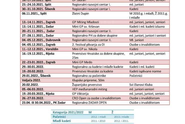 KALENDAR NATJECANJA ZIMA 2021 - 2022